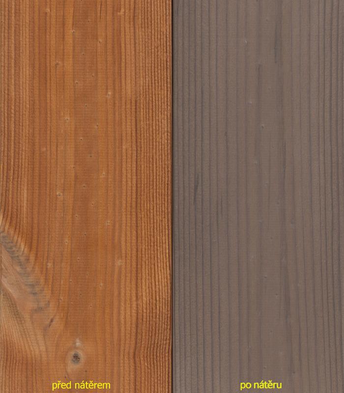 Nátěr OWATROL-AQUADECKS odstín GRAPHITE GREY - před/po nátěru